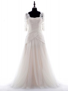 Edgy Brush Train Column/Sheath Wedding Gown White Square Tulle Half Sleeves With Train Zipper