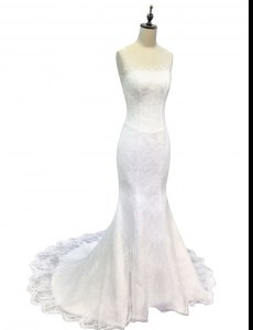 Sophisticated Mermaid Scoop White Sleeveless Sweep Train Lace and Appliques With Train Wedding Gown