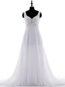 Hot Sale White Sleeveless With Train Beading and Pleated Zipper Wedding Dresses
