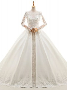 Appliques Wedding Dresses White Zipper Long Sleeves With Train Cathedral Train