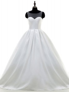 With Train A-line Sleeveless White Wedding Dress Sweep Train Zipper