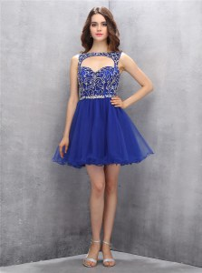 Luxurious Mini Length Zipper Royal Blue and In with Beading
