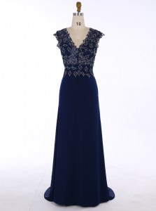 Navy Blue Dress for Prom Prom and Party and For with Appliques V-neck Sleeveless Sweep Train Zipper