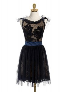 Delicate Scoop Lace and Belt Evening Dress Black Backless Sleeveless Mini Length
