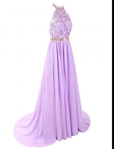 Lavender Backless Evening Dress Lace Sleeveless With Brush Train