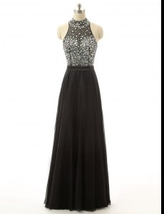 High-neck Sleeveless Backless Prom Dress Black Tulle