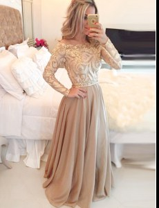 Scoop Long Sleeves Floor Length Beading and Lace Zipper Evening Dress with Brown