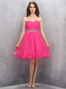 Knee Length Hot Pink Sweetheart Sleeveless Zipper