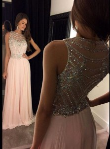 Pink A-line Scoop Sleeveless Chiffon Asymmetrical Side Zipper Beading Homecoming Dress
