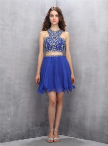 Glamorous Royal Blue A-line Chiffon Scoop Sleeveless Beading Knee Length Criss Cross Prom Dresses