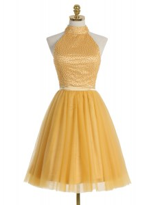 Gold Dress for Prom Prom and For with Beading High-neck Sleeveless Zipper