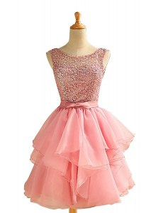 Smart Scoop Sleeveless Lace and Ruching Lace Up Prom Gown