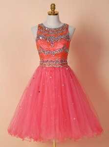 Watermelon Red Scoop Neckline Beading Prom Evening Gown Sleeveless Zipper