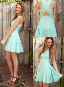 Fantastic Apple Green V-neck Criss Cross Pleated Prom Dresses Sleeveless