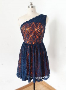 High End One Shoulder Sleeveless Zipper Dress for Prom Navy Blue Lace