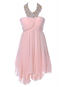 A-line Prom Evening Gown Baby Pink Strapless Chiffon Sleeveless Knee Length Backless