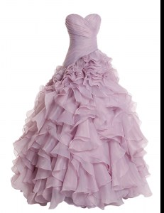Lilac A-line Ruffles Prom Dress Zipper Organza Sleeveless Floor Length