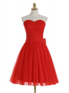 Modern Red Sweetheart Neckline Ruching Evening Dress Sleeveless Zipper