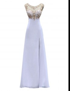 Scoop Beading Dress for Prom White Backless Sleeveless Floor Length