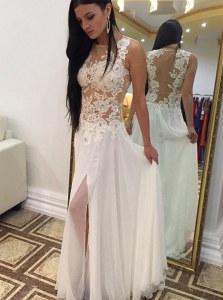 Superior Scoop Sleeveless Evening Dress Floor Length Appliques White Chiffon