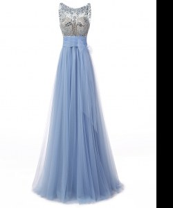 Scoop Sleeveless Tulle Prom Gown Beading and Bowknot Backless