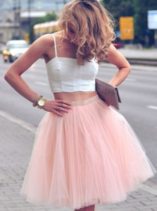 Excellent Sleeveless Tulle Mini Length Zipper Homecoming Dress in Pink And White with Ruffles
