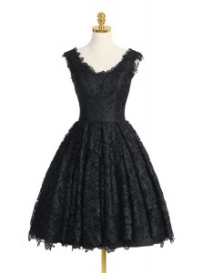 Customized Black Prom Party Dress Prom and Party and For with Lace V-neck Sleeveless Zipper