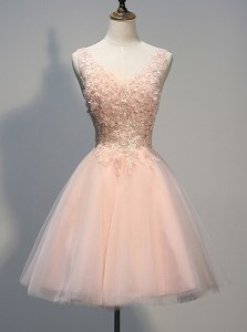 Luxurious Peach V-neck Neckline Beading and Appliques Prom Evening Gown Sleeveless Zipper