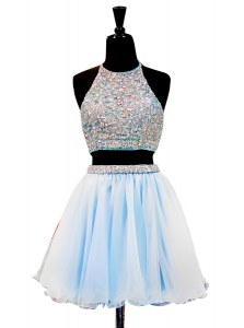 Artistic Halter Top Light Blue Zipper Beading Sleeveless Mini Length