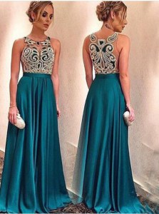 Decent Scoop Teal Zipper Evening Dress Appliques Sleeveless Floor Length