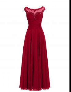 Wine Red A-line Chiffon Scoop Cap Sleeves Appliques Floor Length Zipper Prom Dress