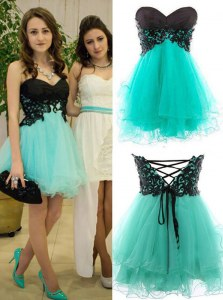 Affordable Turquoise Tulle Zipper Prom Party Dress Sleeveless Mini Length Appliques