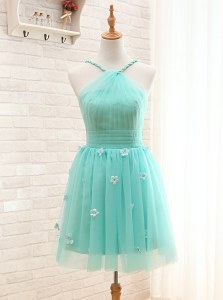 Aqua Blue Tulle Lace Up Straps Sleeveless Mini Length Prom Gown Hand Made Flower