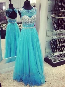 Mermaid Aqua Blue Homecoming Dress Chiffon Sweep Train Sleeveless Beading