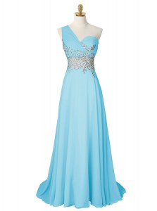 High End One Shoulder With Train Side Zipper Prom Gown Aqua Blue for Prom and Party with Beading Brush Train