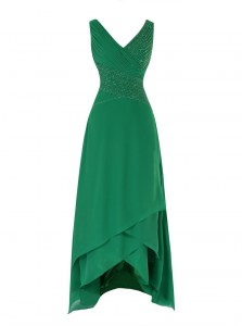 Luxury Green V-neck Neckline Beading and Ruching Prom Dresses Sleeveless Zipper