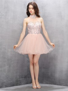Latest Baby Pink A-line High-neck Sleeveless Tulle Mini Length Zipper Beading and Sequins Prom Dresses