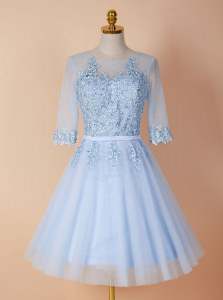 Spectacular Light Blue Backless Scoop Appliques Homecoming Dress Organza Half Sleeves