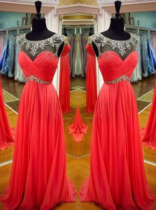 Scoop Floor Length Backless Evening Dress Coral Red for Prom and Party with Sashes ribbons