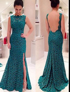 Fitting Mermaid Lace Scalloped Sleeveless Backless Lace Homecoming Dress in Teal