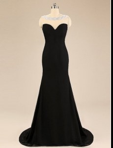 Backless Black Sleeveless Brush Train Beading With Train Prom Dresses