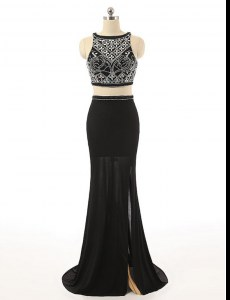 Black Zipper Bateau Beading Homecoming Dress Chiffon Sleeveless Sweep Train