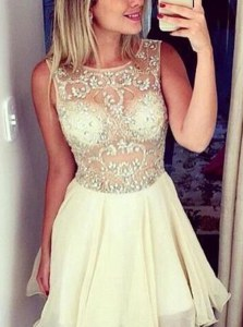 Ideal Scoop Champagne Sleeveless Knee Length Beading Zipper Prom Gown