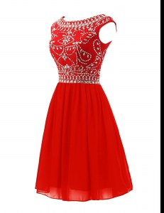 Beauteous Scoop Red Sleeveless Beading Mini Length Prom Gown