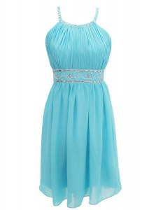 Chic Halter Top Criss Cross Aqua Blue Sleeveless Beading Knee Length Prom Dress