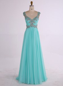 Aqua Blue Zipper Homecoming Dress Beading Sleeveless Floor Length