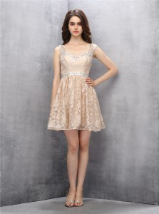 Straps Backless Lace Champagne Sleeveless Beading Knee Length Evening Dress