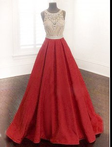 Smart Scoop Red Sleeveless Beading Floor Length Prom Evening Gown