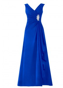 Royal Blue A-line Chiffon V-neck Sleeveless Beading Floor Length Zipper Evening Outfits