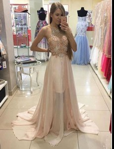 Champagne Chiffon Zipper Scoop Sleeveless Prom Dresses Brush Train Beading